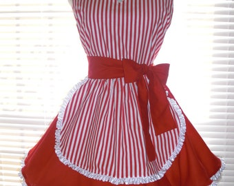 PLUS SIZE French Maid Apron Retro Apron Red and White Candy Stripes Extra Wide Circular Skirt Trimmed with Ruffled Ribbon