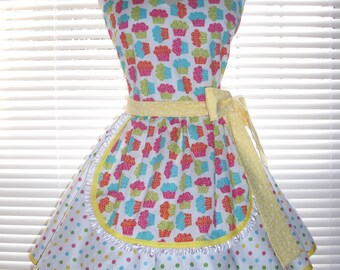 1950's Style French Maid Apron Retro Candy Dots Paired with Rainbow Cupcakes Pin-up Retro Style Flirty Skirt Sweetheart Neckline