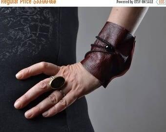 ON SALE Burgundy Leather Cuff Bracelet - Leather Cuff Bracelet - Leather Cuff - Summer Accessories - Handmade Leather Cuff