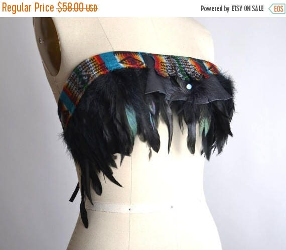 ON SALE Festival Feather Top - Burning man Clothing - Native American Inspired - Hippie - Burning man - Festival Headband