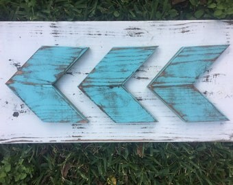Wall Arrows (Set of 3) | Turquoise Distressed | Farmhouse Decor
