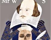 William Shakespeare, Grußkarte, Karte, Bücherwurm, Collage, Naive Kunst, Hamlet, Shakespeare, Bard von Avon, literarische Karten, englische Literatur, Kunst