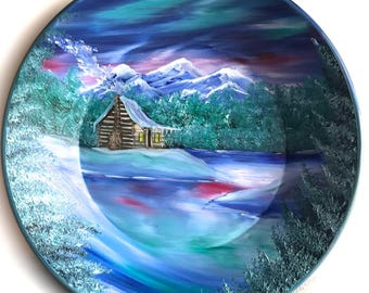 Hand Painted 11 Inch Gold Pans Mountain Northern Lights Log Cabin