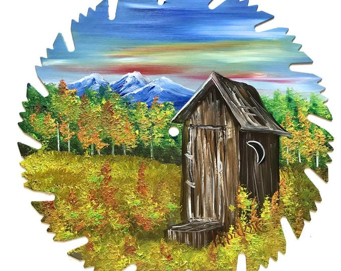 Hand Painted Saw Blade Mountain Fall OUT HOUSE