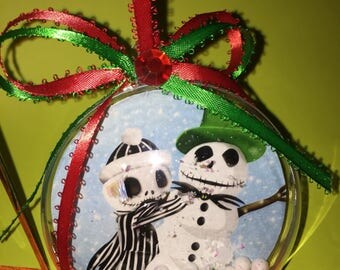 Nightmarebefore Christmas  with a snowman  themed ornament