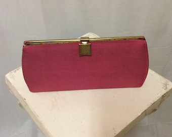 Pink Fabric Clutch with Chain