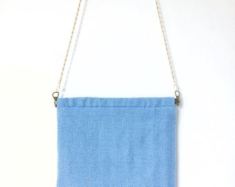 Blue Herringbone Bag, Flex Frame Bag, Shoulder Bag, Fabric Bag, Cross-body, Fabric Shoulder Bag