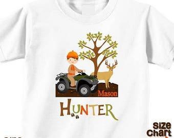 SALE Personalized Deer Hunter Hunting Season Camo 4-wheeler ATV Boy Birthday Party Shirt T-shirt Bodysuit Pretend Play Imagination Dress Up