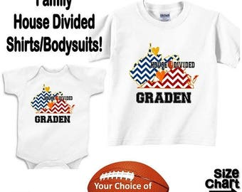 SALE Personalized House Divided Football Virginia West Virginia Love Family Baby Kids Adults T-shirt Bodysuit - Your Choice of States & Colo