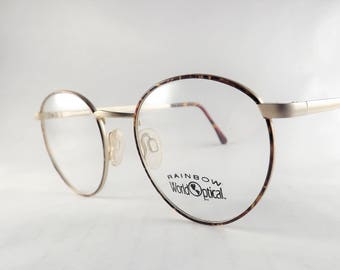 Tortoise Eyeglasses Gold Metal Frames, Vintage Round Eyeglasses, Womens Brown Tortoise Shell Eyewear, Flexible Temple Arms, New Old Stock