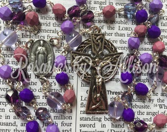 Mixed purple fire polished glass bead and Alexandrite Czech glass bead rosary with Our Lady of Knock center and Celtic crucifix