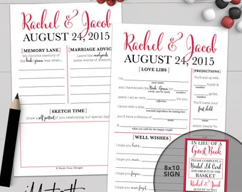 Personalized Wedding Guest Book Madlib Advice Card - Printable Or Printed [#214]