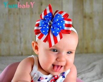 Fourth of July Headband - Baby bow headband, baby headband, bow headbands, newborn Headband, hair bows for fourth of July