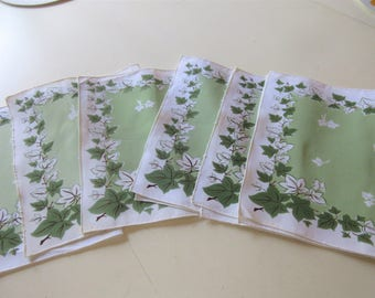 Set of 6 Rayon Vintage Napkins