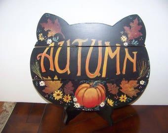 Autumn/Fall Sign wood folkart