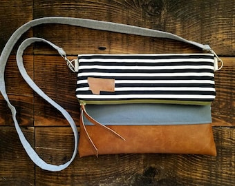 Crossbody/Black and ivory striped print/Montana Patch/Foldover Crossbody/vegan leather/Green zipper/Montana patch bags