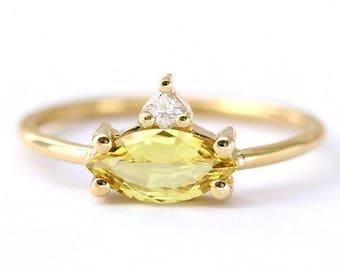 ON SALE Sapphire Engagement Ring, 1 Carat Sapphire Ring, Marquise Engagement Ring, Sapphire Cluster Ring, Gold Sapphire Ring, Yellow Sapphir