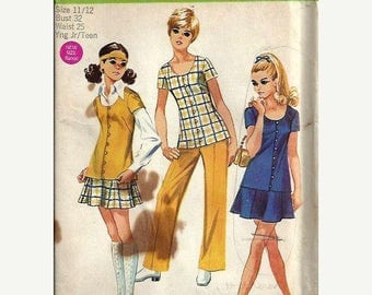 ON SALE VTG Simplicity 8607 Junior/Teen Tunic, Mini Skirt and Pants Pattern, Size 11/12 Uncut