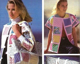 ON SALE Simplicity 7893 Shirley Botsford School Of Quilting Misses Jacket, Bolero, Vest & Tote Sewing Pattern, PT-Lg, Uncut