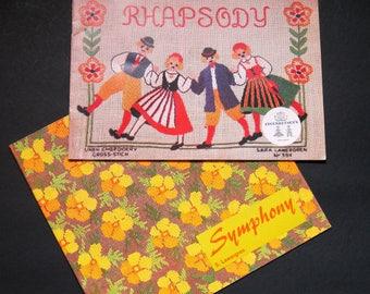 Pair of Sara Lawergren, Swedish cross stitch pattern books, Rhapsody and Symphony, scenes, motifs, florals, borders, alphabets, charted