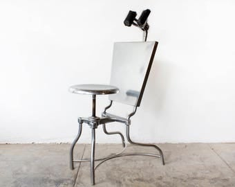 1930s Steel Medical Exam Chair, Refinished