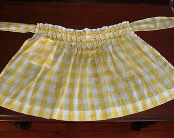 Vintage Yellow and White Gingham Check Half Apron Large Checks with Smocking