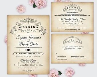 Rustic Wedding Invitation Template Digital Invites Vintage Wedding Printables Editable Pdf Download RSVP Cards Details 30021