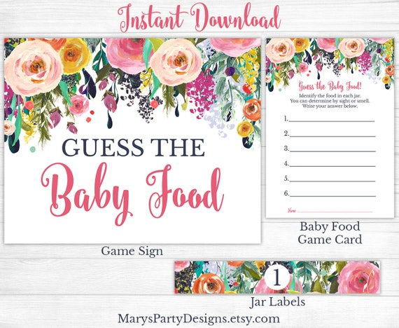 Guess The Baby Food Jar Baby Shower Game Girl Spring Flowers