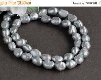 ON SALE 7-8MM Silver Gray Freshwater Baroque small pearls 14'' strand