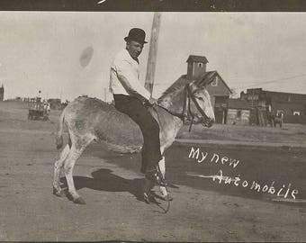 One Horse Power - Antique 1900s Man on Donkey Silver Gelatin Print Real Photo Postcard