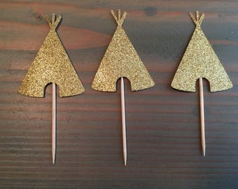 12 gold glitter teepee cupcake toppers, tribal cupcake toppers, wild one, birthday party, baby shower