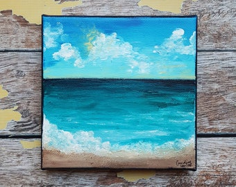 "Seascape Canvas Art | Coastal Painting | Ocean Art | Beach Decor | 6x6 | ""Tranquility"" 