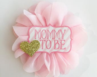 Pink and gold Baby Shower Pin Mommy to be pin Flower Ribbon Corsage gold Glitter  mom to be button chevron Baby Shower corsage mommy to be