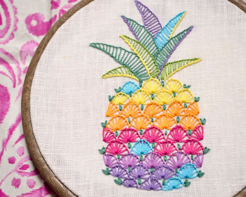Pineapple hand embroidery patterns modern