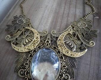 Maxi collar lace bib Golden goth ♰666 666♰ Wicca Moon
