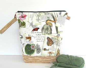 Knitting Project Bag, Tall size, KIP bag, Zippered craft bag, spindle bag, Crochet project bag, sock knitting - Wetlands pattern