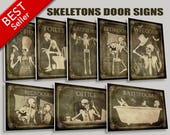 Door signs of your choice,Toilet, Bathroom,Laundry,Bedroom,horror,Kitchen,Welcome,Office,signs,skull,skeletons,Halloween,sale,christmas gift