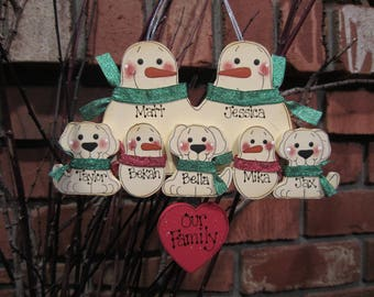 7 Family Members:  Personalized Snowman & Pet Ornament