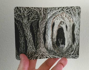 Midnight Deer, Miniature Altered Book, Book Art