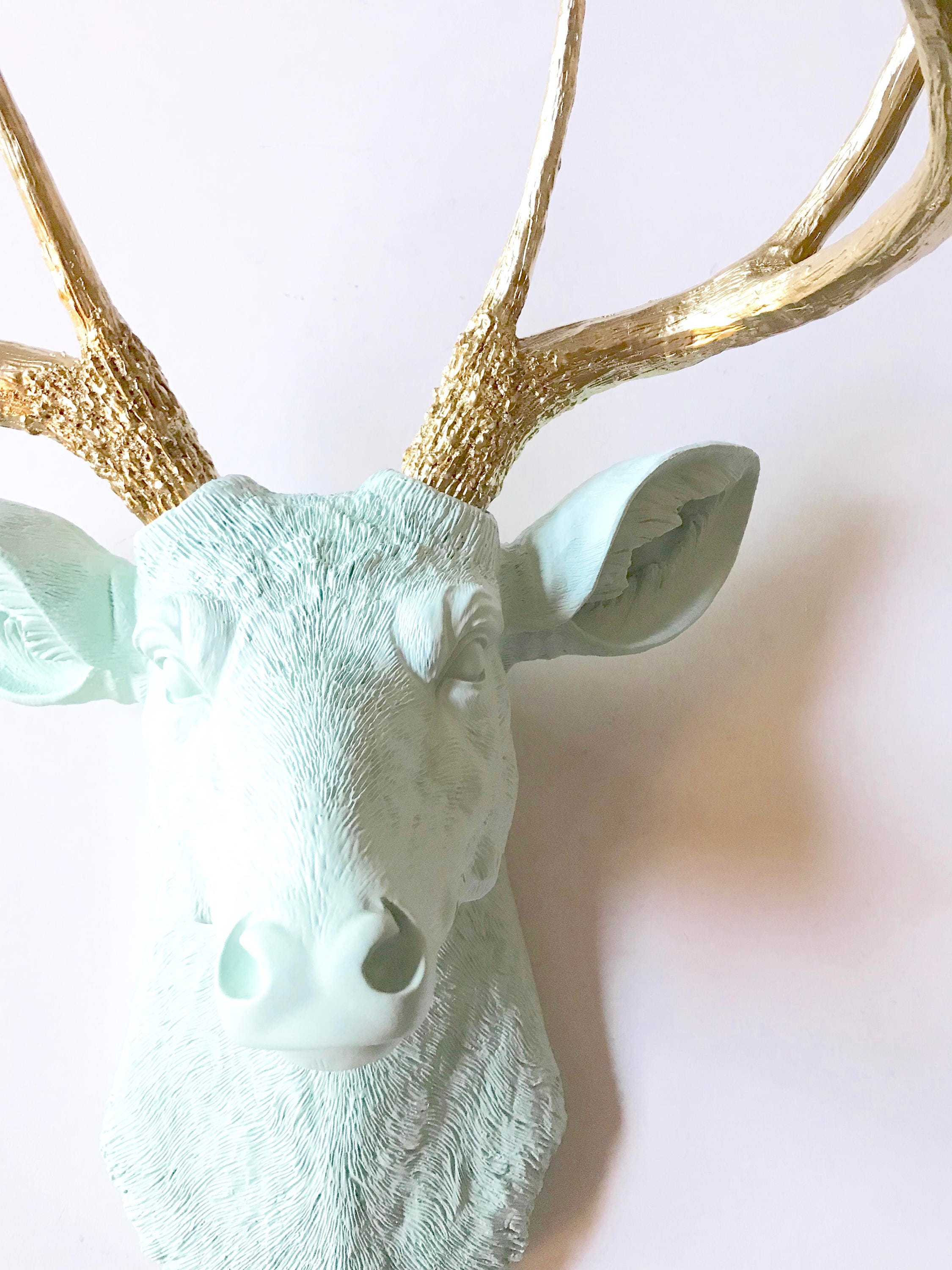 ICICLE BLUE GoLD Faux Taxidermy Deer Head Wall Mount Stag Head Wall Hanging  Farm House Decor