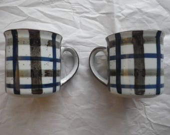 Pair of Plaid and Speckled Mugs Unmarked Vintage Coffee Cups Blue Brown and Cream Drinkware