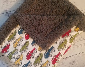 Cars Flannel Blanket with Sherpa wool Carseat Blanket Crib Blanket Baby Blanket
