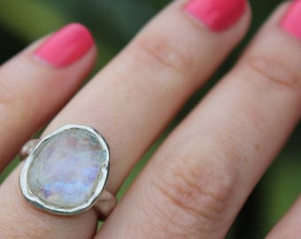 moonstone ring, rainbow moonstone, sterling silver, hand carved, rose cut, recycled silver, gift for her