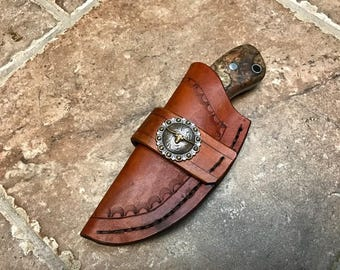 Hand made knife with hand made sheath from VW spring plate
