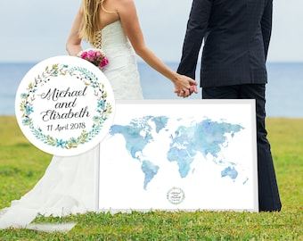 Map guest book etsy custom wedding guest book personalized world map guestbook made wedding guest book gift idea gumiabroncs Choice Image