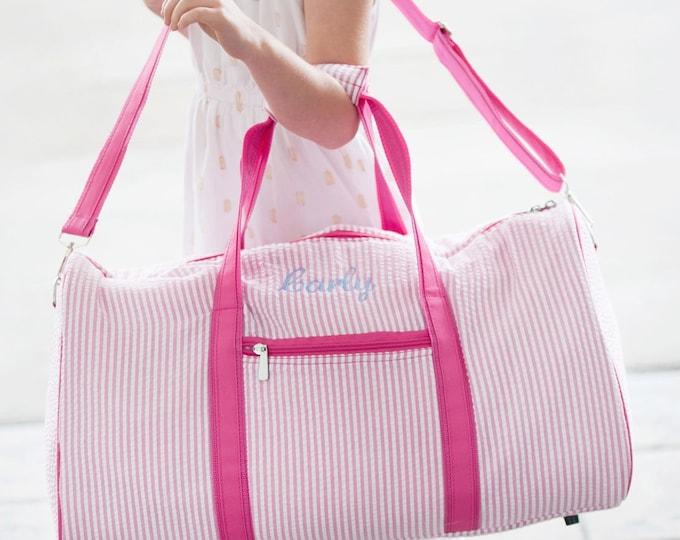 Monogrammed Duffle Bag, Seersucker Duffle Bag, Flower Girl Gifts, Personalized Duffle Bag, Pageant, Dance Bag, Girls Duffle Bags