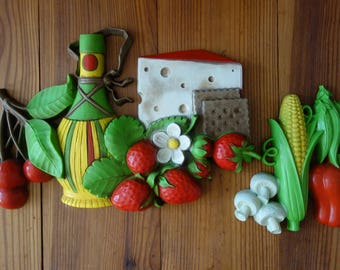Vintage Kitchen Wall Plaque Set - Homco 1970's