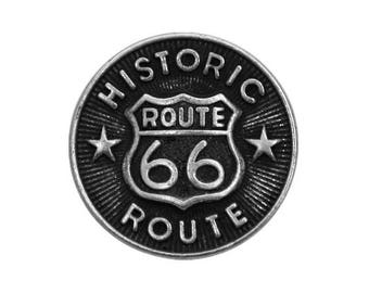 12 Route 66 Metal Buttons 3/4 inch ( 20 mm ) Antique Silver
