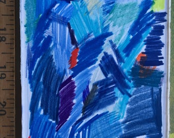 """Abstract colored pencil drawing 4"""" x 6"""