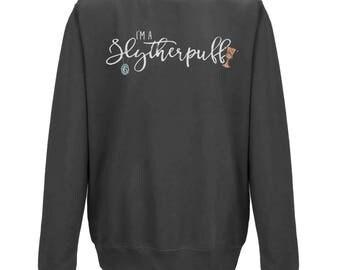 I'm A SLYTHERPUFF Mixed Hogwarts House JUMPER | Slytherin and Hufflepuff | Christmas Gift